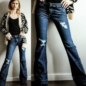 Distressed Flare Cuff Hem Jeans Medium Wash